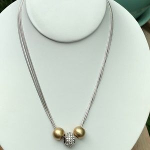 Lia Sophia gold and crystal pave charm necklace